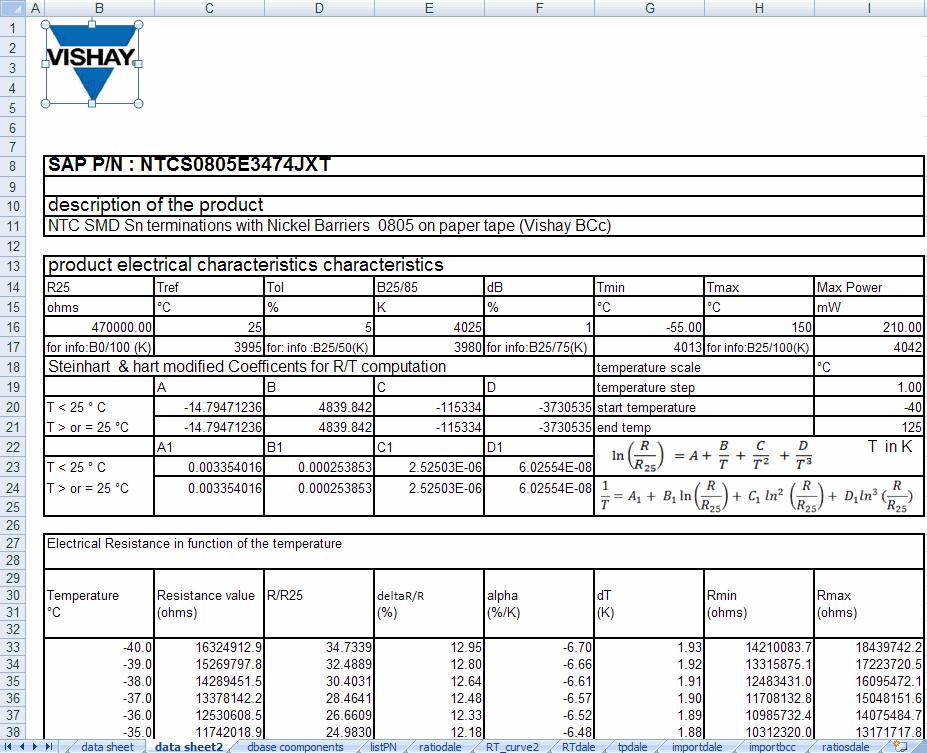 De-Macro'd Vishay Thermistor Data